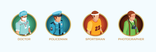 Images of a doctor, policeman, sportsman and photographer
