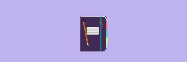 journal, notebook, pencil