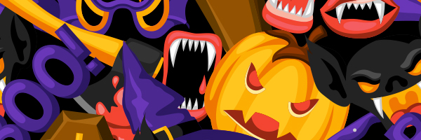 halloween, pumpkin, vampire teeth, bat, boo