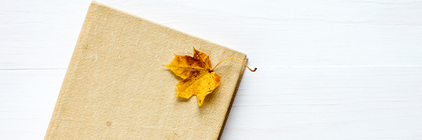 leaf on top of book,