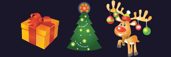 christmas, tree, present, reindeer