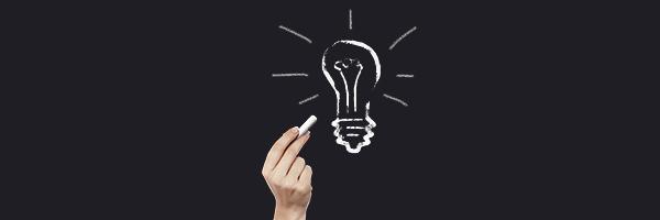 lightbulb, idea, hand, chalk, chalkboard