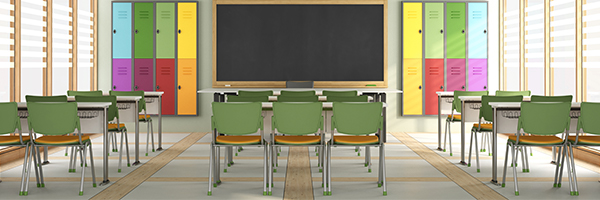 classroom, chairs, lockers, desks